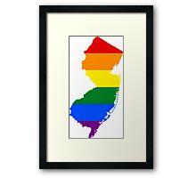 LGBT Flag Map of New Jersey  Framed Print