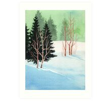 Sun, Snow And Finally Silence in The Woods - Aquarel Art Print
