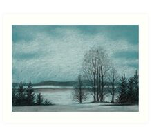 Winter in The Woods - Black And White Conté on Blue Paper Art Print