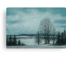 Winter in The Woods - Black And White Conté on Blue Paper Canvas Print