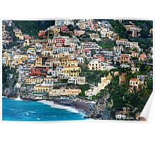 Positano Houses and Beach Poster