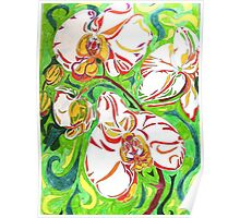 Swirling Orchids Poster