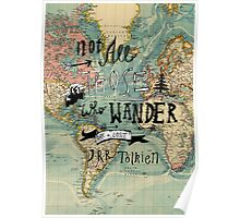 Not All Those Who Wander - Map Texture Poster