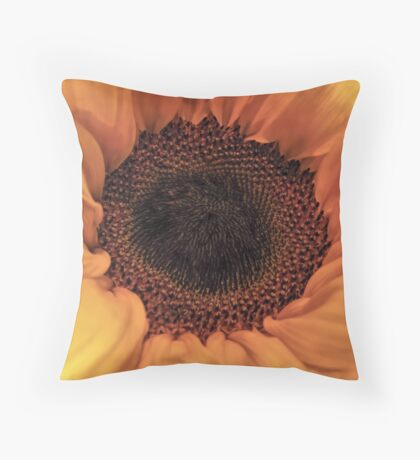 Sunflower - Macro Close Up Throw Pillow