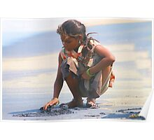 Indian Gypsy Girl collecting sea shells. Poster