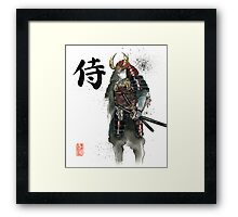 Japanese Calligraphy with Armored Samurai with sword Framed Print