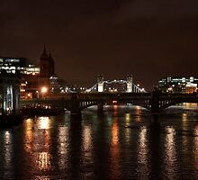 River Thames at night time rain by Paul Revans