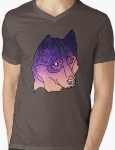 Husky Wolf Sunset Galaxy Mens V-Neck T-Shirt