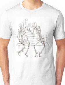 two skeletons smoking cigars Unisex T-Shirt