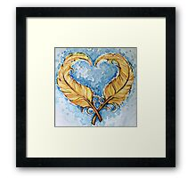Love will grow feather heart Framed Print