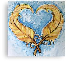 Love will grow feather heart Canvas Print
