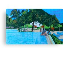 Cool Caribbean infinity pool Canvas Print