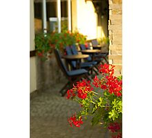 Red flowers and cofee tables Photographic Print