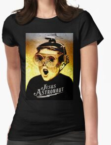 JESUS ASTRONAUT BEER GOGGLES Womens Fitted T-Shirt