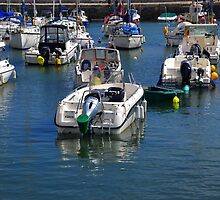 Boats in Lyme Harbour Dorset UK by lynn carter