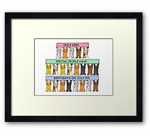 Cats celebrating birthdays on July 9th. Framed Print