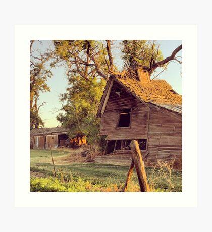 Distressed Red Barn Washington State Art Print