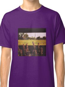Fence line of purple flowers at sunset in Washington State Classic T-Shirt