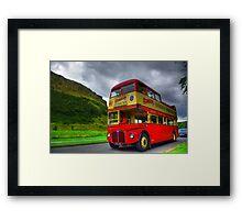 Vintage Red Bus Framed Print