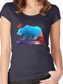 California State Flag Bear (fractal angles) Women's Fitted Scoop T-Shirt