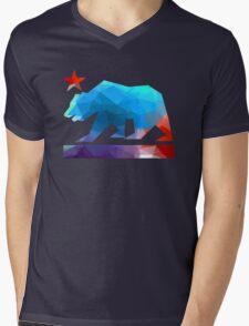 California State Flag Bear (fractal angles) Mens V-Neck T-Shirt