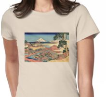 'The Tea Plantation' by Katsushika Hokusai (Reproduction) Womens Fitted T-Shirt