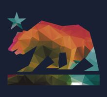 California State Flag Bear (fractal angles) Kids Tee