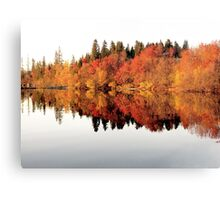 Red trees reflection in mirror lake Canvas Print