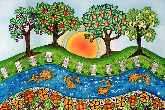 """Sunrise At The Orchard""  by Lisa Frances Judd ~ QuirkyHappyArt"
