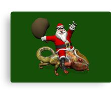 Santa Claus Riding On Giant Panther Chameleon Canvas Print