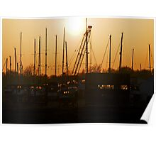 Sunset over Tollesbury Boathouse Poster