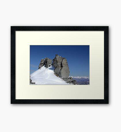 Treble Cone summit rocks Framed Print