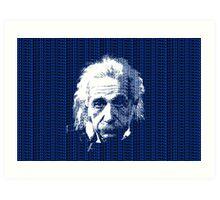 Albert Einstein Portrait with blue text background  Art Print