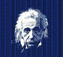 Albert Einstein Portrait with blue text background  by yin888