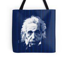 Albert Einstein Portrait with blue text background  Tote Bag