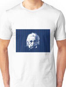 Albert Einstein Portrait with blue text background  Unisex T-Shirt