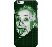 Albert Einstein Portrait pulling tongue and green text background  iPhone Case/Skin