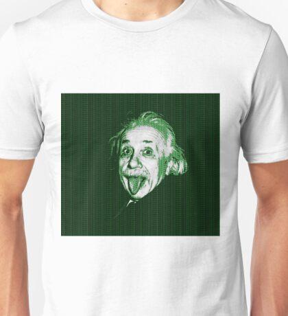 Albert Einstein Portrait pulling tongue and green text background  Unisex T-Shirt