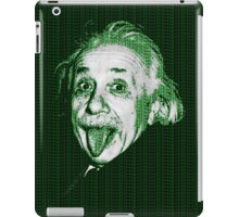 Albert Einstein Portrait pulling tongue and green text background  iPad Case/Skin