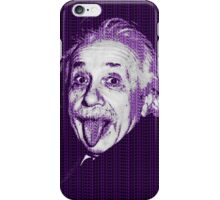 Albert Einstein Portrait pulling tongue and purple text background  iPhone Case/Skin