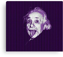 Albert Einstein Portrait pulling tongue and purple text background  Canvas Print