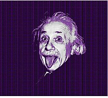 Albert Einstein Portrait pulling tongue and purple text background  Photographic Print