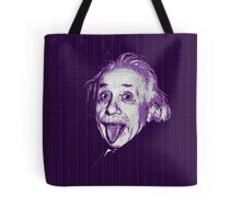 Albert Einstein Portrait pulling tongue and purple text background  Tote Bag