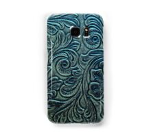 Blue Green Tooled Leather Floral Scrollwork Design Samsung Galaxy Case/Skin