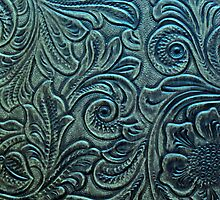 Blue Green Tooled Leather Floral Scrollwork Design by rpwalriven