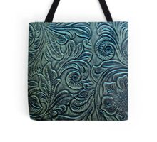 Blue Green Tooled Leather Floral Scrollwork Design Tote Bag