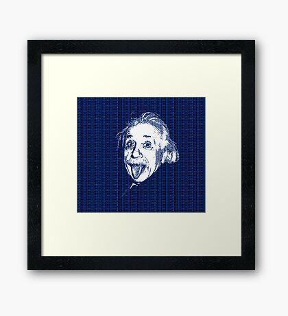 Albert Einstein Portrait pulling tongue and blue  text background  Framed Print