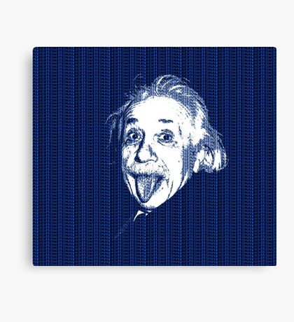 Albert Einstein Portrait pulling tongue and blue  text background  Canvas Print