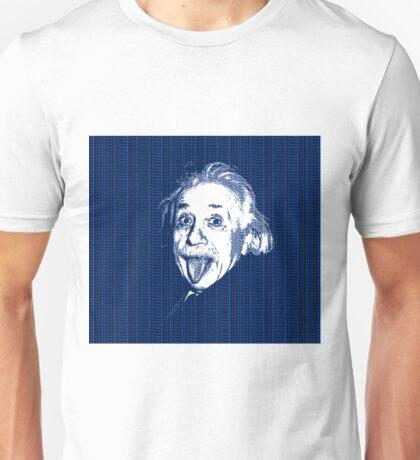 Albert Einstein Portrait pulling tongue and blue  text background  Unisex T-Shirt