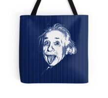 Albert Einstein Portrait pulling tongue and blue  text background  Tote Bag